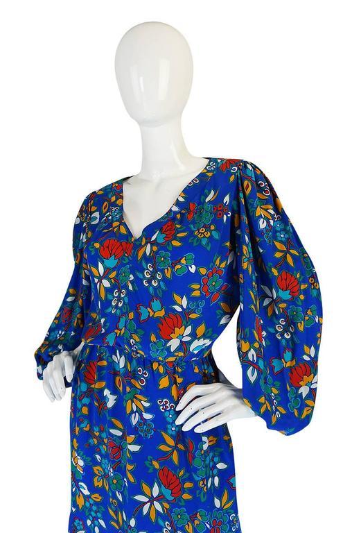 1980s Yves Saint Laurent Bright Floral Print Blue Silk Dress 5