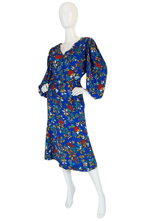 1980s Yves Saint Laurent Bright Floral Print Blue Silk Dress 3