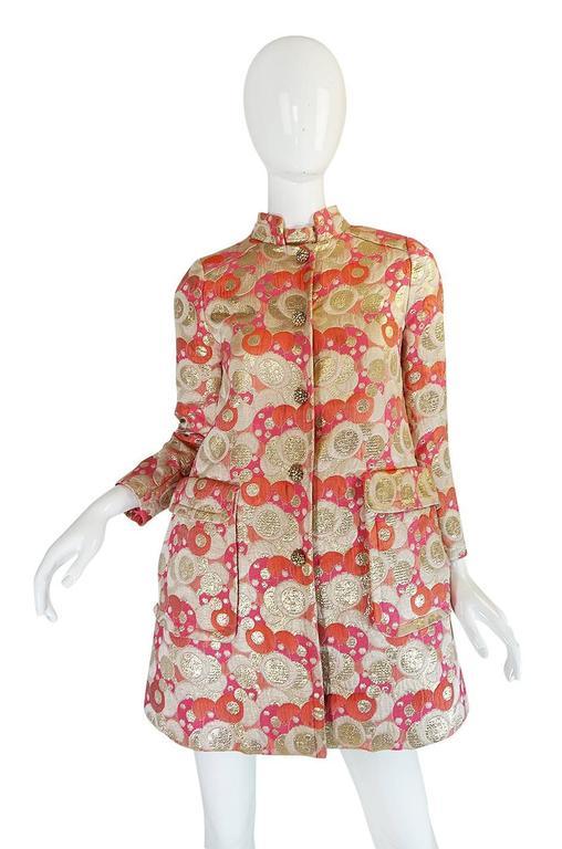 1960s Pink Metallic Pat Sandler Dress & Coat For Sale 1