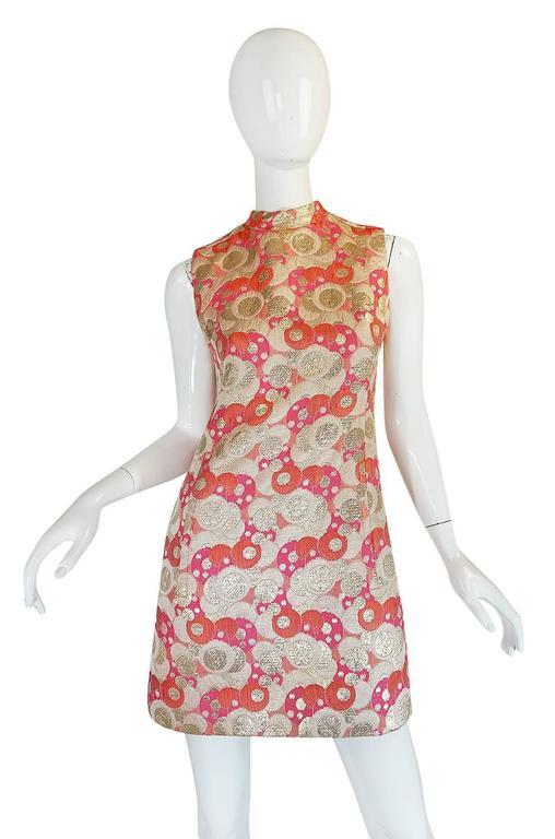 1960s Pink Metallic Pat Sandler Dress & Coat For Sale 2