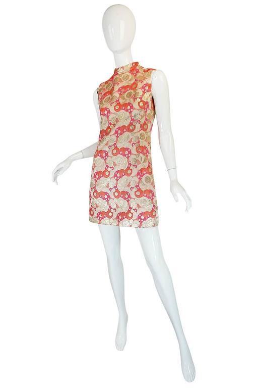 1960s Pink Metallic Pat Sandler Dress & Coat In Excellent Condition For Sale In Toronto, ON