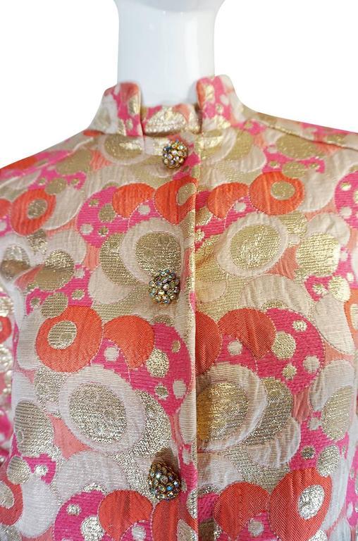 1960s Pink Metallic Pat Sandler Dress & Coat For Sale 3