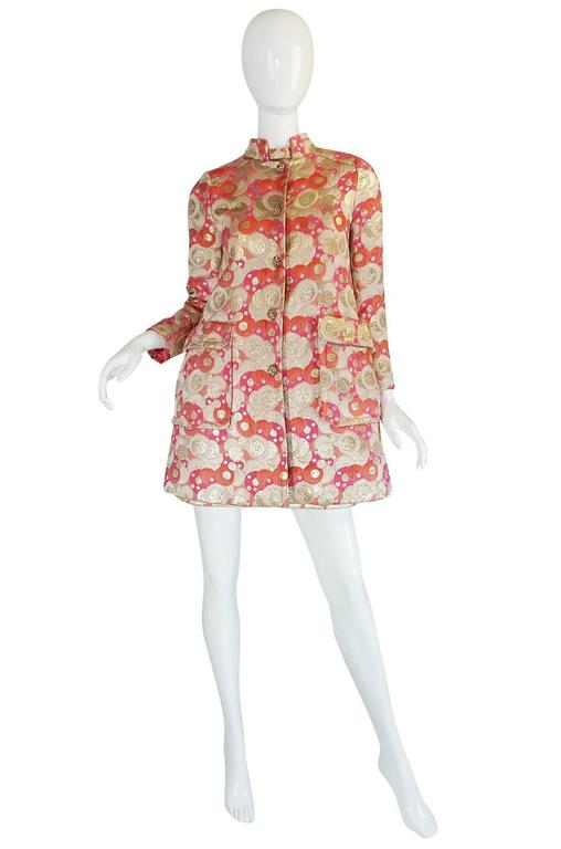 Brown 1960s Pink Metallic Pat Sandler Dress & Coat For Sale