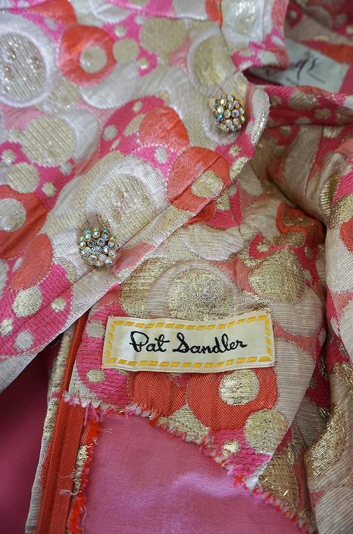 1960s Pink Metallic Pat Sandler Dress & Coat For Sale 5