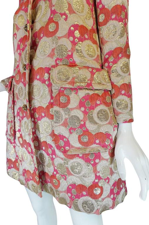 1960s Pink Metallic Pat Sandler Dress & Coat For Sale 4