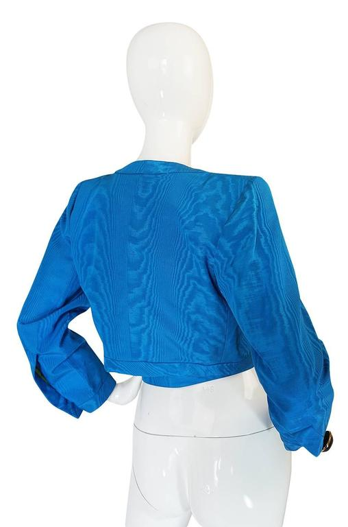 1980s Yves Saint Laurent Blue Moire Silk Jacket w Belt 2