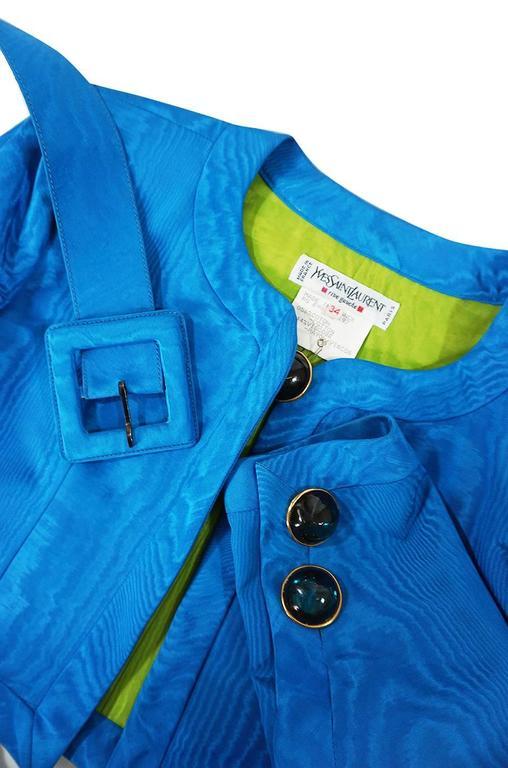 1980s Yves Saint Laurent Blue Moire Silk Jacket w Belt 7