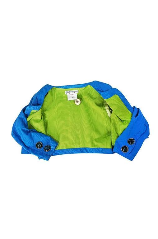 1980s Yves Saint Laurent Blue Moire Silk Jacket w Belt 6