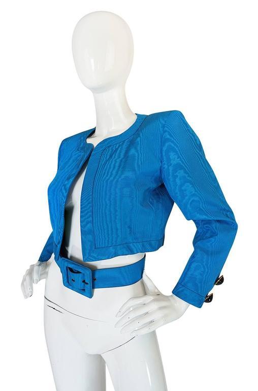 1980s Yves Saint Laurent Blue Moire Silk Jacket w Belt 3