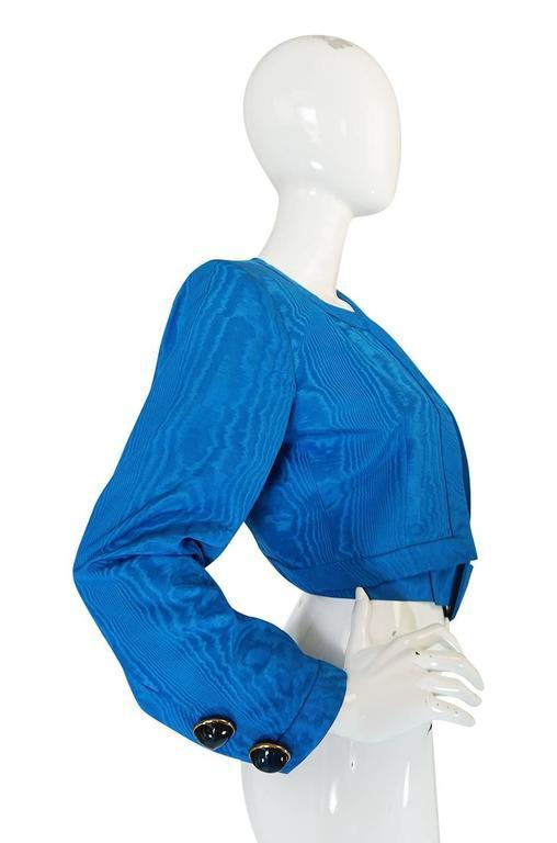 1980s Yves Saint Laurent Blue Moire Silk Jacket w Belt 4