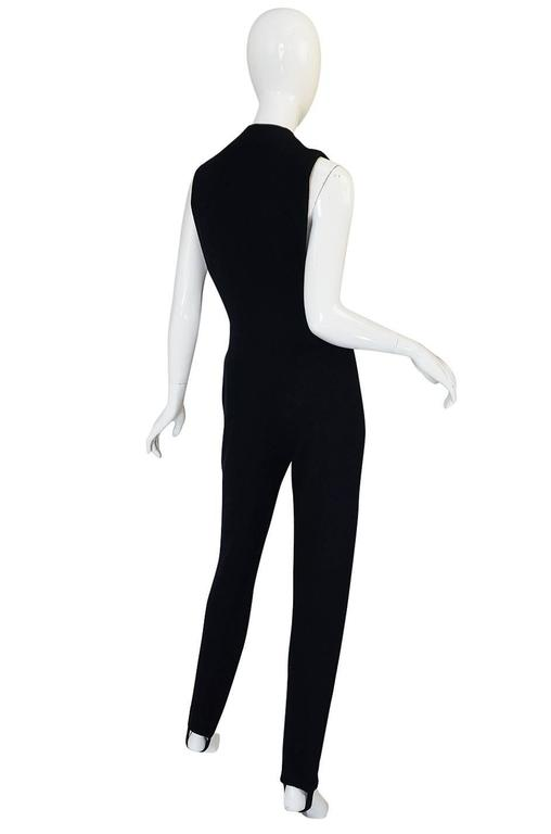 1980s Donna Karan Plunging Stretch Stirrup Pant Jumpsuit 2