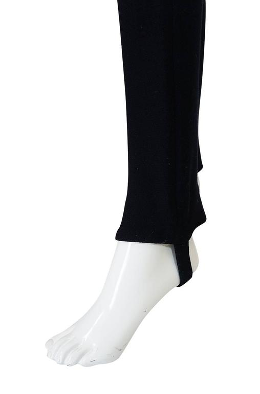 1980s Donna Karan Plunging Stretch Stirrup Pant Jumpsuit 7