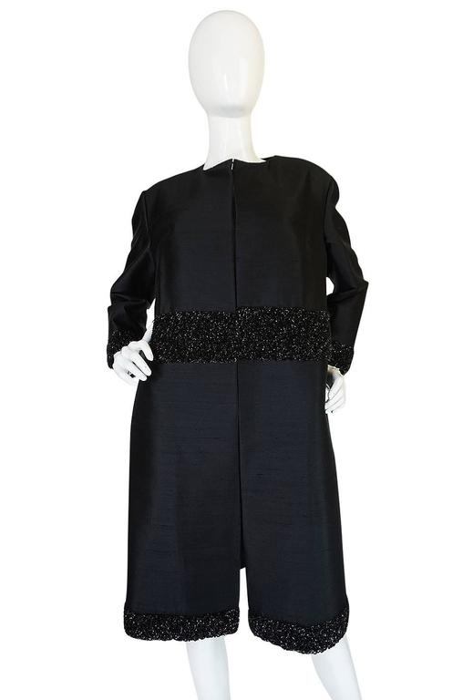 Women's Beautiful 1950s Densely Beaded Black Silk Evening Coat For Sale