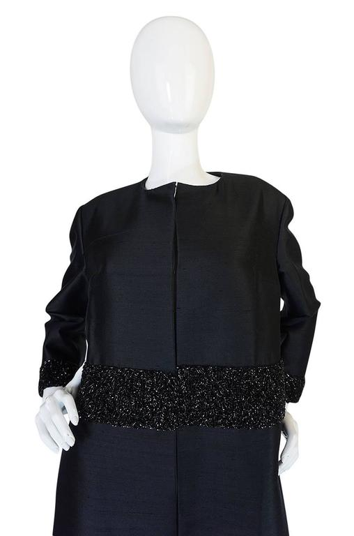 Beautiful 1950s Densely Beaded Black Silk Evening Coat For Sale 1