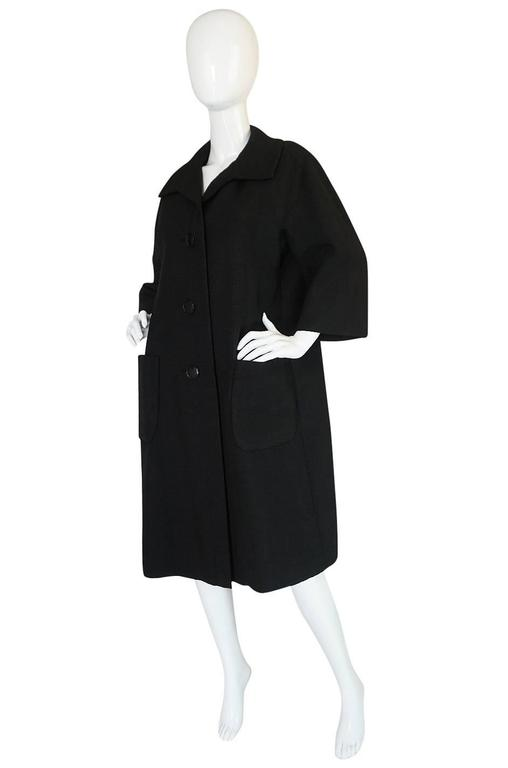 1950s Christian Dior Demi-Couture Black Voluminous Coat In Excellent Condition For Sale In Toronto, ON