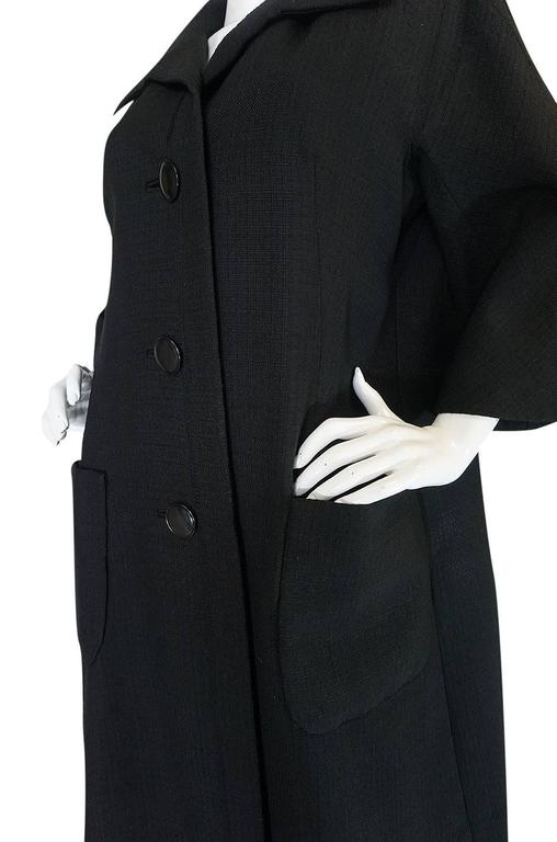 1950s Christian Dior Demi-Couture Black Voluminous Coat For Sale 2
