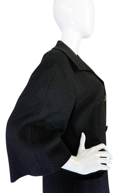 1950s Christian Dior Demi-Couture Black Voluminous Coat For Sale 3