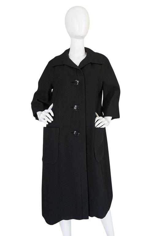 Women's 1950s Christian Dior Demi-Couture Black Voluminous Coat For Sale