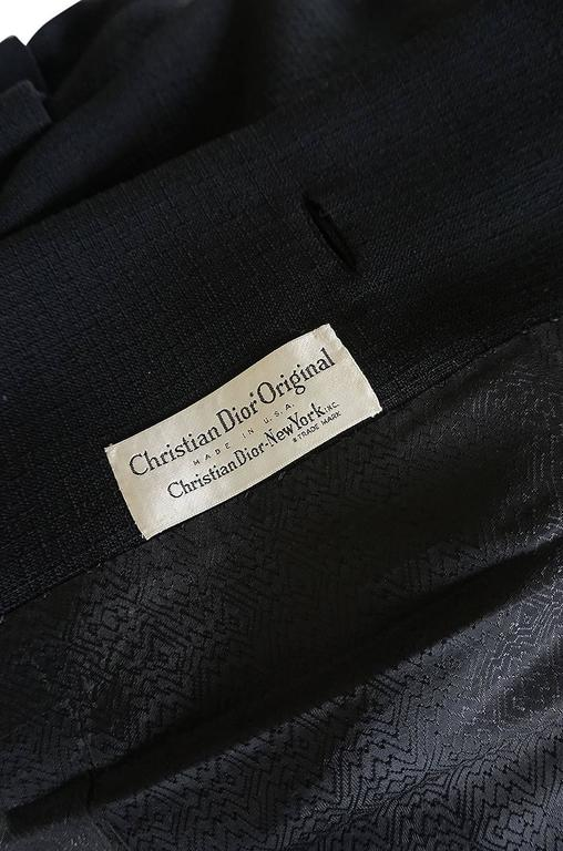 1950s Christian Dior Demi-Couture Black Voluminous Coat For Sale 4