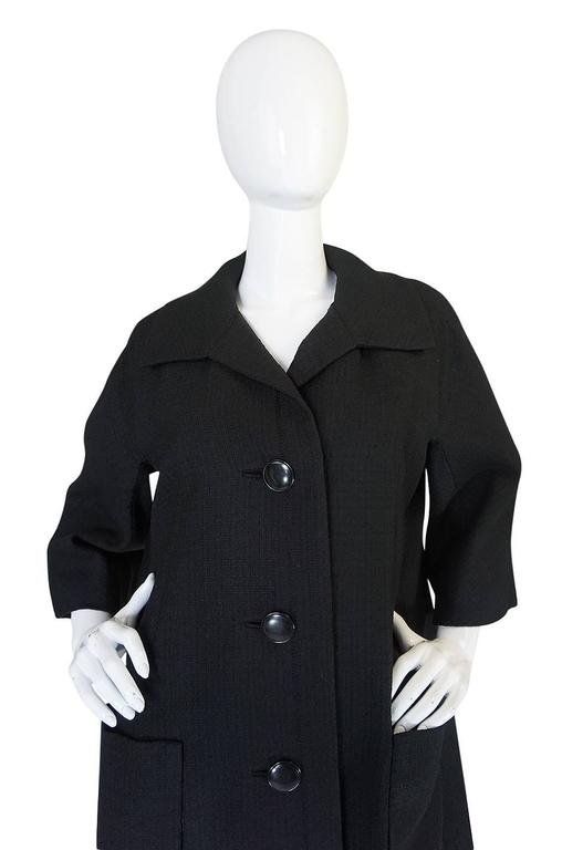 1950s Christian Dior Demi-Couture Black Voluminous Coat For Sale 1