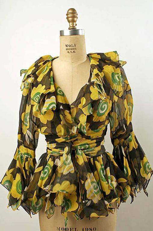 Museum Held 1969 Ossie Clark Top w Celia Birtwell Candy Flower Print 8