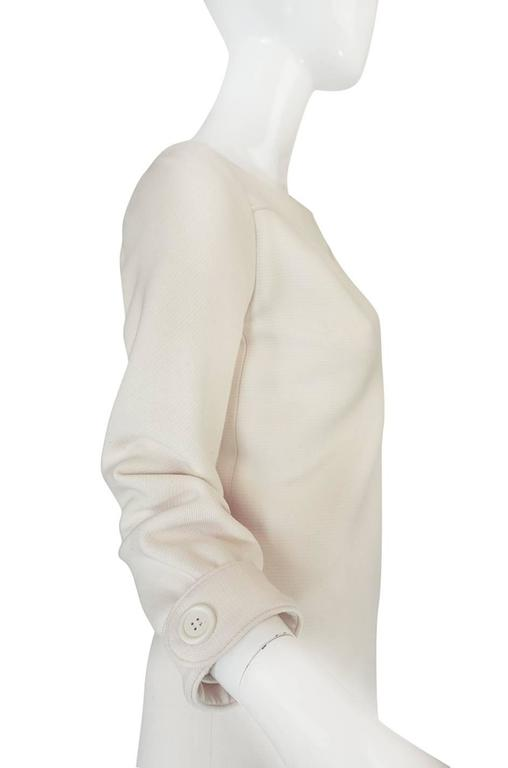 c1966 Courreges Haute Couture Mod Cream Dress For Sale 1