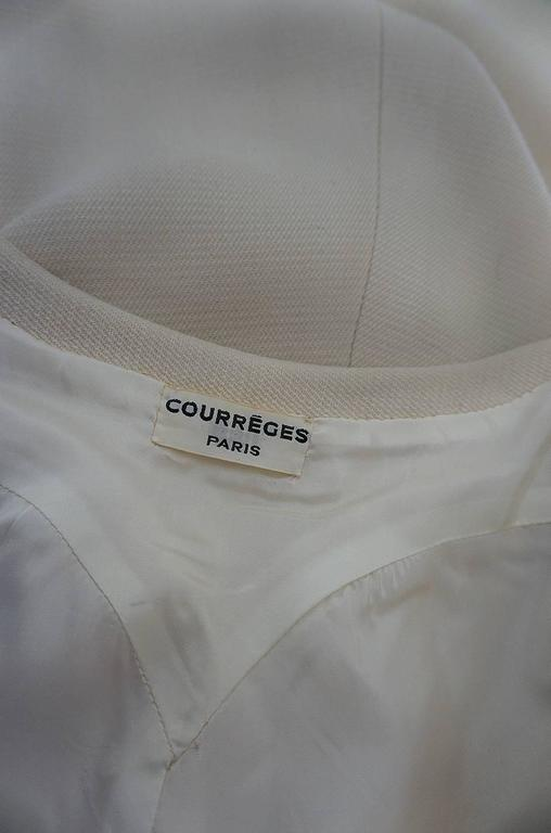 c1966 Courreges Haute Couture Mod Cream Dress For Sale 3