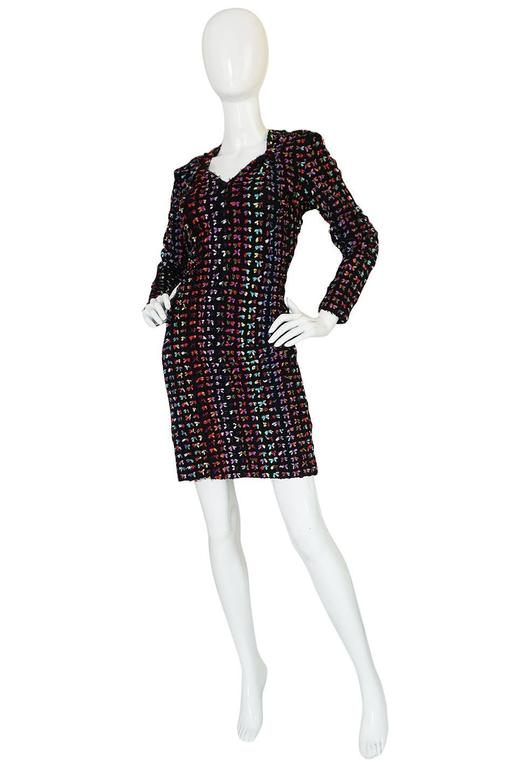 Black Runway F/W 1988-89 Patrick Kelly Multi Color Bow Dress For Sale