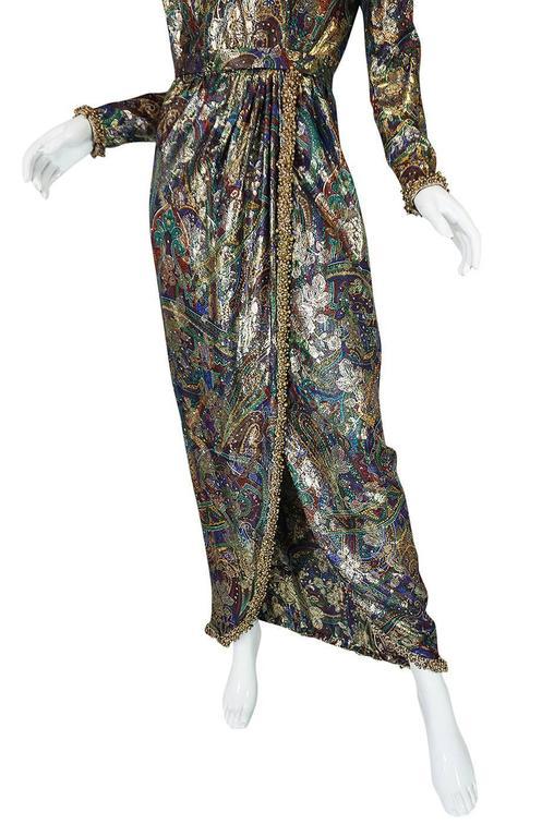 Unworn c1975 Oscar de la Renta Silk Metallic Dress with Bells 9