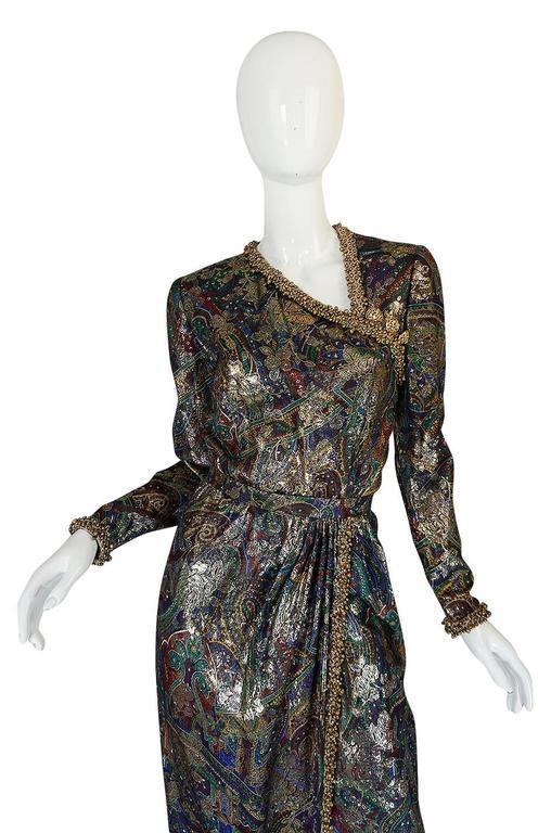 Unworn c1975 Oscar de la Renta Silk Metallic Dress with Bells 4