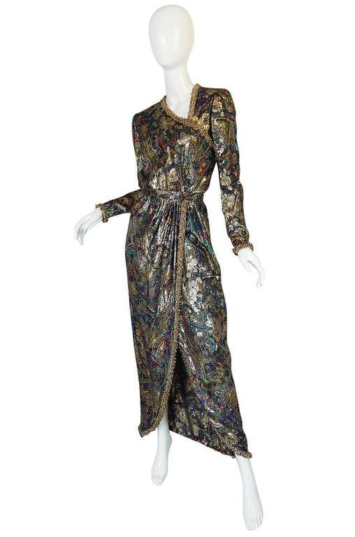 Unworn c1975 Oscar de la Renta Silk Metallic Dress with Bells 3