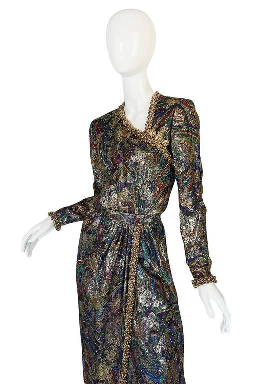 Unworn c1975 Oscar de la Renta Silk Metallic Dress with Bells 5
