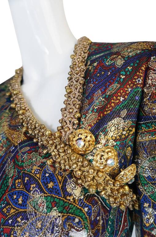 Unworn c1975 Oscar de la Renta Silk Metallic Dress with Bells 7
