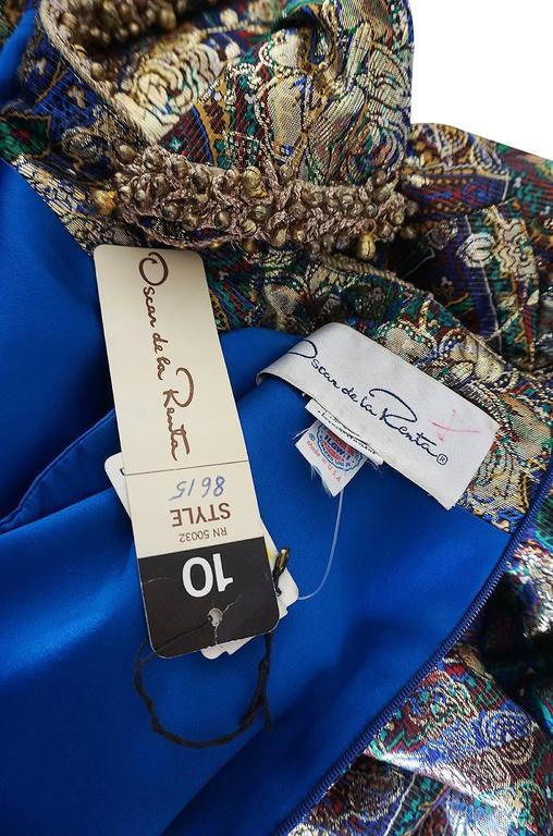 Unworn c1975 Oscar de la Renta Silk Metallic Dress with Bells 10
