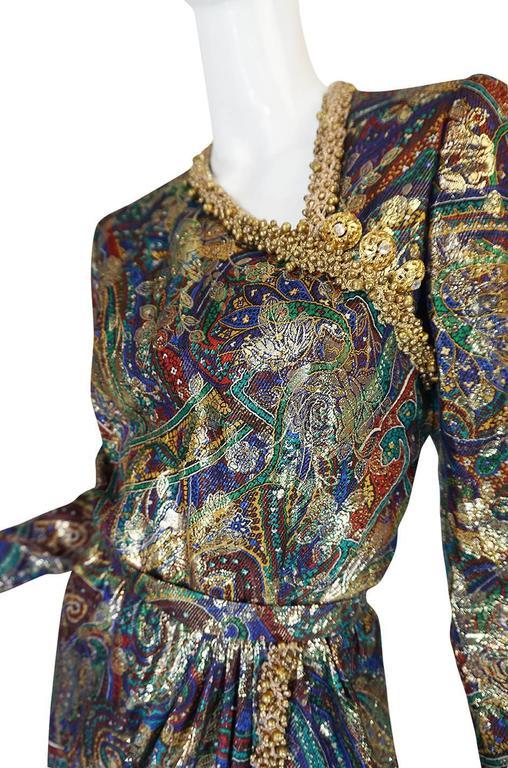 Unworn c1975 Oscar de la Renta Silk Metallic Dress with Bells 8