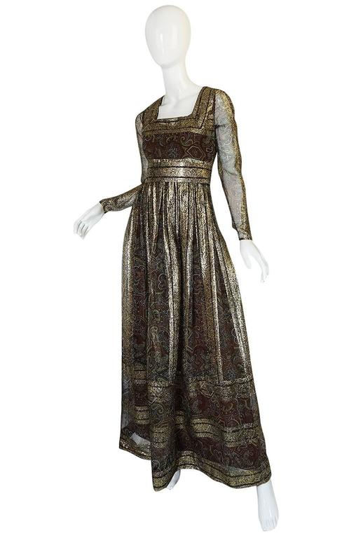 1970s Marc Bohan for Christian Dior Demi-Couture Metallic Dress 3