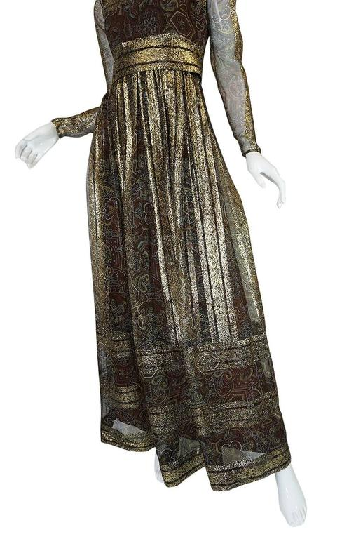 1970s Marc Bohan for Christian Dior Demi-Couture Metallic Dress 8