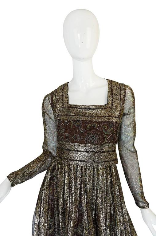 1970s Marc Bohan for Christian Dior Demi-Couture Metallic Dress 4