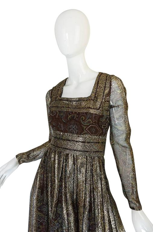 1970s Marc Bohan for Christian Dior Demi-Couture Metallic Dress 5