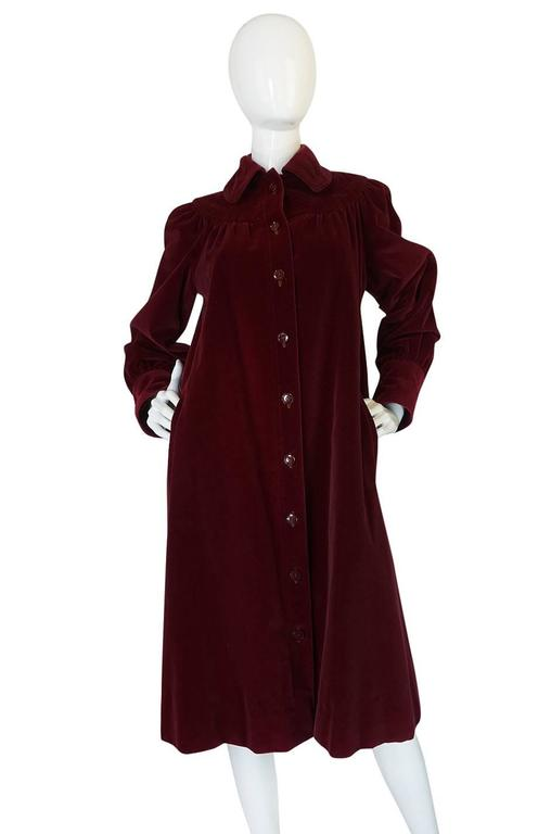Women's c.1981 Yves Saint Laurent Demi-Couture Garnet Velvet Smock Coat For Sale