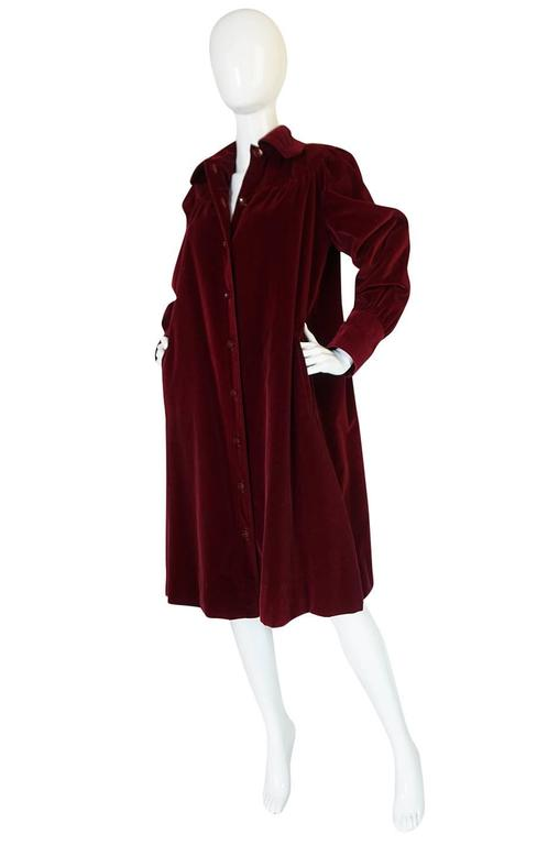 Black c.1981 Yves Saint Laurent Demi-Couture Garnet Velvet Smock Coat For Sale