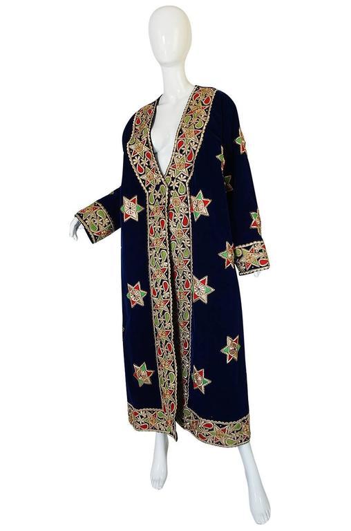 Black 1960s Deep Blue Velvet & Embroidered Star Applique Coat For Sale