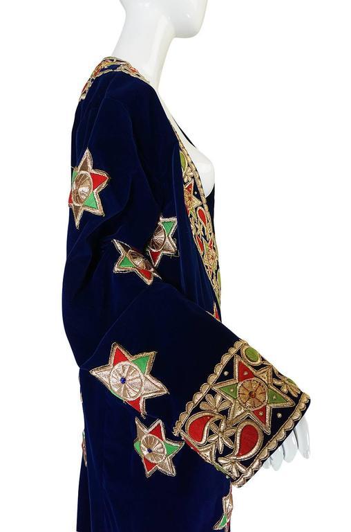 Women's or Men's 1960s Deep Blue Velvet & Embroidered Star Applique Coat For Sale