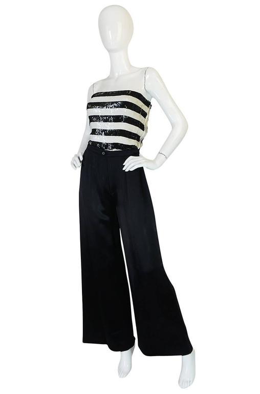 c1966 Yves Saint Laurent Sequin Stripe Top & Satin Pant 3