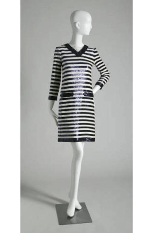 c1966 Yves Saint Laurent Sequin Stripe Top & Satin Pant 10