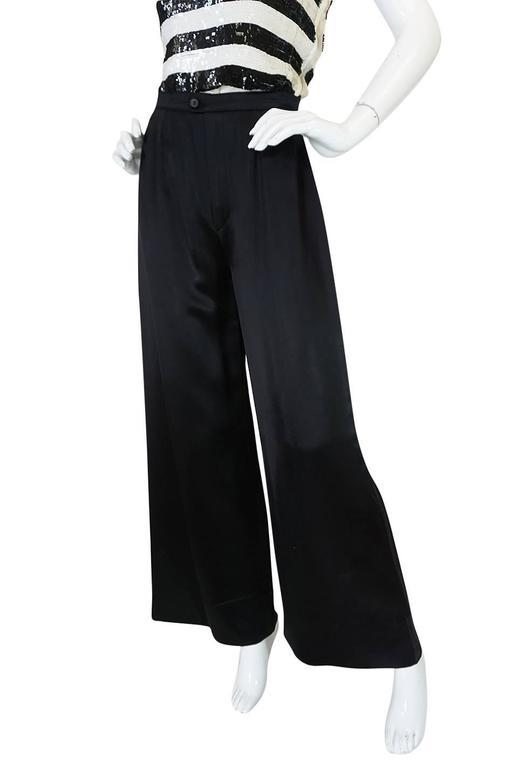 c1966 Yves Saint Laurent Sequin Stripe Top & Satin Pant 6