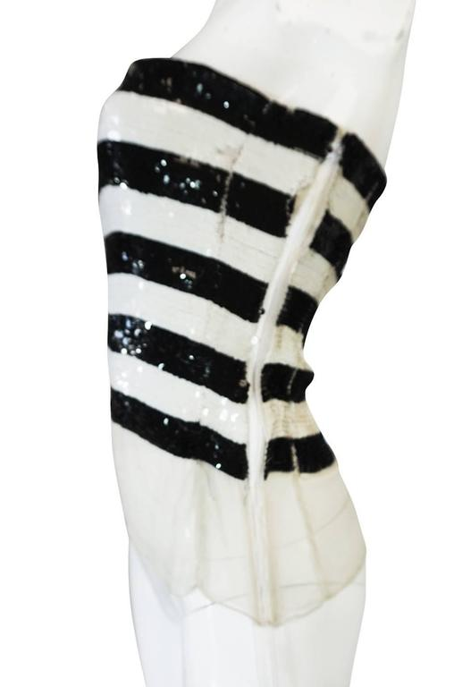 c1966 Yves Saint Laurent Sequin Stripe Top & Satin Pant In Excellent Condition For Sale In Toronto, CA