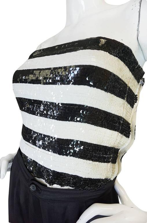 c1966 Yves Saint Laurent Sequin Stripe Top & Satin Pant 5