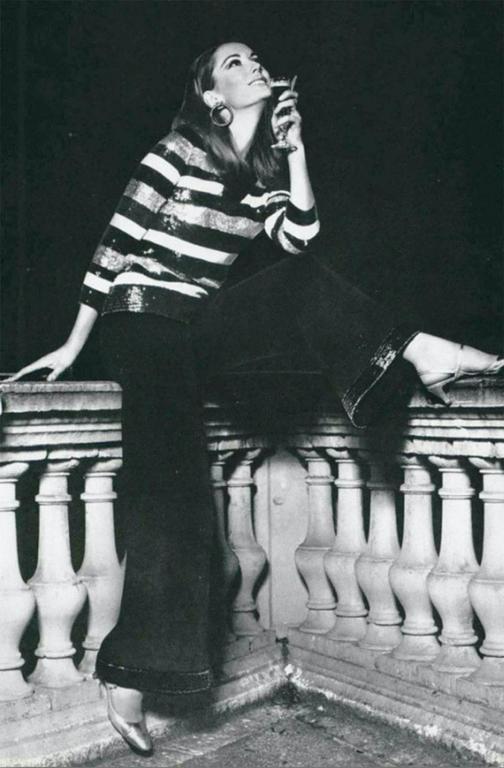 c1966 Yves Saint Laurent Sequin Stripe Top & Satin Pant 9