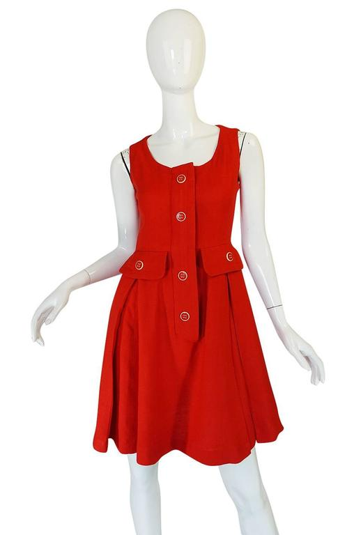 1960s Geoffrey Beene Boutique Red Linen Dress 4